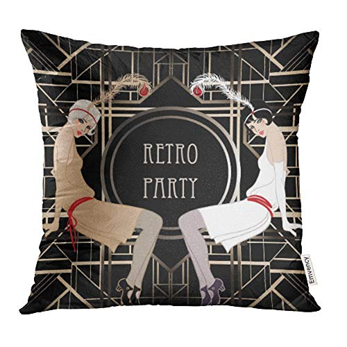 (Emvency Decorative Throw Pillow Case Cushion Cover Black 1920S Flapper Girl Retro Party Design White Speakeasy Roaring 20S Mafia 20x20 Inch Cases Square Pillowcases Covers for Sofa Two Sides)