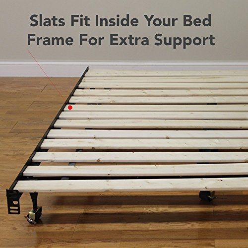 "Classic Brands Heavy Duty Attached Solid Wood Bed Support Slats, 54"" W-Full, White"
