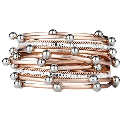 Bracelet Magnetic Clasp Magnetic Buckle Leather Multi Layer Straw Bracelet Jewelry Party Decoration Women