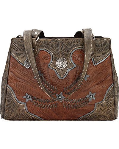 American West Women's Desert Wildflower Tote Brown One Size Tooled Leather Shoes