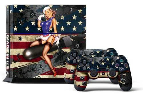 PS4 Console Designer Skin for Sony PlayStation 4 System plus Two(2) Decals for: PS4 Dualshock Controller - Battle Torn Stripes