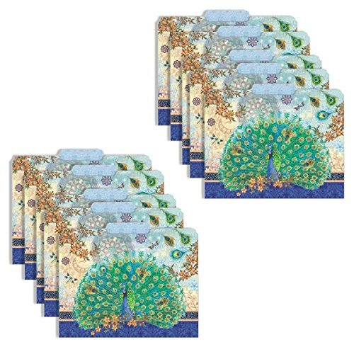 Punch Studio Decorative Royal Peacock Letter Size File Folders, Blue/Multicolor, 10 Count, by Luvial Designs ()