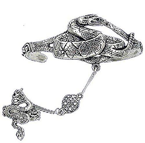 Pewter Slave Bracelet - Pewter Celtic Snake Slave Bracelet - Renaissance Hand Flower