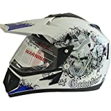 Vega Off Road Gangster ORDVDBR1111 Helmet (White and Blue, M)