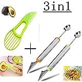 ProCIV 2PCS Melon Baller Fruit Carving Knife Fruit Slicer 2 in 1 Multifunction Home Kitchen Tools For DIY Fruit Salads,Garnishes and Desserts,Cake,Ice Cream Scooper