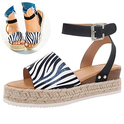 (Swiusd Shoes Woman Leopard Stripe Print Sandals Ankle Strap Buckle Wedged Roman Sandals Slingback Comfy High Water Platform Sandals (Black, 7 M US))