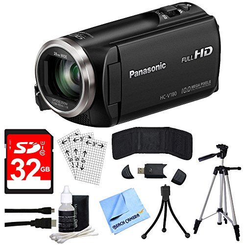 Panasonic HC-V180K Full HD Camcorder with 50x Stabilized Optical Zoom - Black with Bundle Includes, 32GB High Speed Memory Card, 57 Full size Tripod & 6 High Speed mini-HDMI to HDMI A/V Cable by Beach Camera