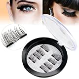 #9: New Dual Magnetic False Eyelashes - 2 Pairs (8 Pieces) Ultra Thin 3D Fiber Reusable Best Fake Lashes Extension for Natural, Perfect for Deep Set Eyes & Round Eyes (8 pcs)