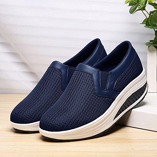 SHAKE Frauen Form UPS Mesh Slip-On Casual Walking Keile Schuhe Atmungs Workout Sneakers für Frauen Blau