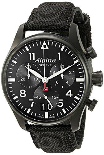 Alpina-Mens-AL-372B4FBS6-Startimer-Pilot-Chronograph-Big-Date-Analog-Display-Swiss-Quartz-Black-Watch