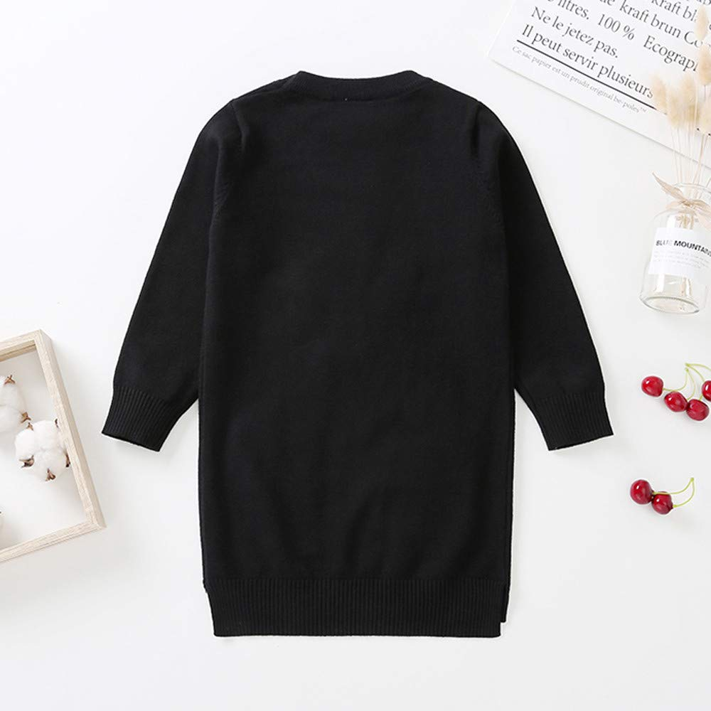 Toddler Kids Girl Sweater Tassels Long Sleeves Long Pullover Sweater Dress Outwear Blouse Children Clothes
