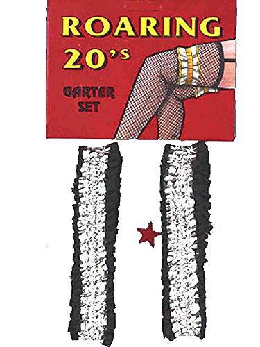 Roaring 20's – Wild West - Victorian Garters Armbands – Silver and Black Satin - Speakeasy Flapper Costume