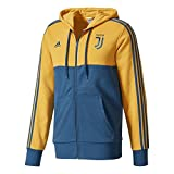 2017-2018 Juventus Adidas 3S Hooded Zip (Yellow)