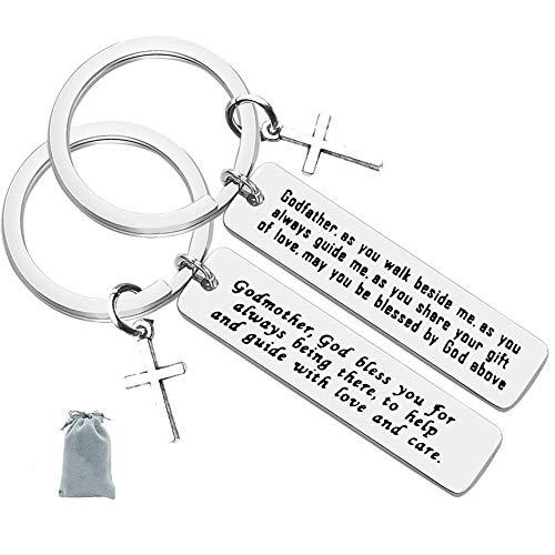 Godparent Gifts from Godchild,Godmother Keychain Godfather Keychain Christening Gift For Godmother Godfather Baptism Jewelry Gift for Godmothers Godfather (2 Pack)