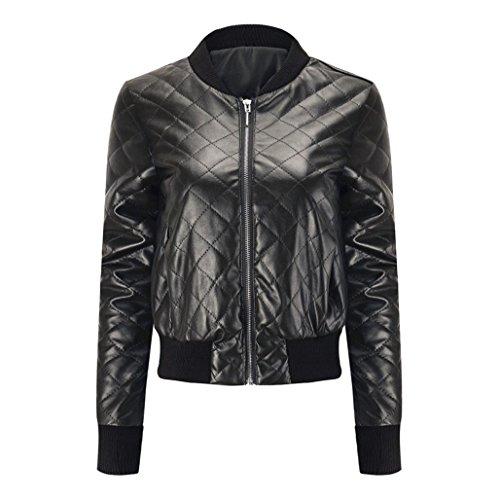 Internet Mujer Chaqueta impermeable de cuero PU Chaqueta de solapa de cuero delgada de moda Abrigo de abrigo de invierno Chaqueta superior de la blusa Negro