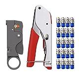 abcGoodefg RG59 RG6 RG11 Coax Compression Crimp Tool Connector Hand Crimper Crimping Tool Waterproof (Red Tool Set)
