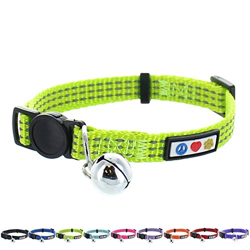 (Pawtitas Reflective Cat Collar with Safety Buckle and Removable Bell Cat Collar Kitten Collar Green Cat Collar)
