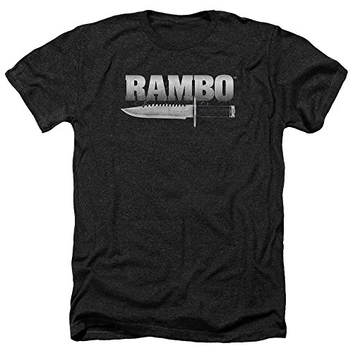 Trevco Unisex-Adults Rambo: First Blood Knife Heather T-Shirt, Black, Small