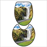 qianhehome Bathroom Non-Slip Floor Mat Waterfall Flowing Over High Cliffs Northern America Scenic Nature Photo Green Blue White. Machine-Washable 15''x18''-D24