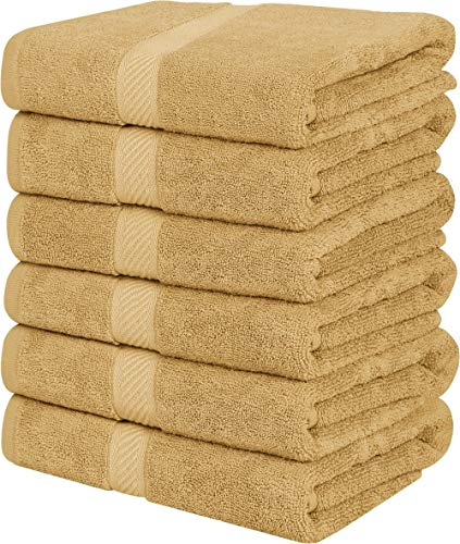 Utopia Towels Cotton Towels, Beige,24 x 48 Inches Towels for Pool, Spa, and Gym Lightweight and Highly Absorbent Quick Drying Towels, (Pack of 6)