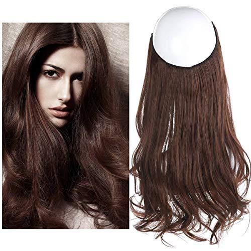 SARLA 16 4.3oz Synthetic Wavy Halo Hair Extension Natural Hairpieces No Clip No Glue No Tape Size Can Be Adjusted (M03, 33 dark auburn)