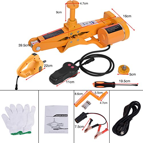 Automotive Electric Car Jack, 3 Ton 12V DC Scissor Lift Jacks Electric Jack Lifting Car SUV Emergency Equipment Impact Wrench with Controller by Estink (Image #2)