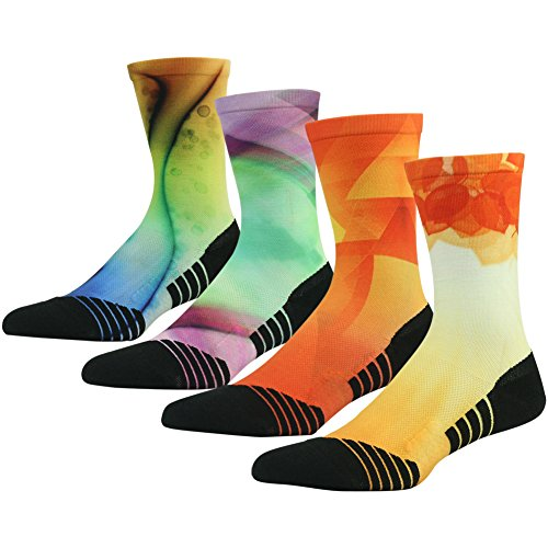HUSO Crazy Fun Colored Socks for Men Women Athletic Sports Crew Socks for Basketball 4 Pairs (Multicolor, L/XL)