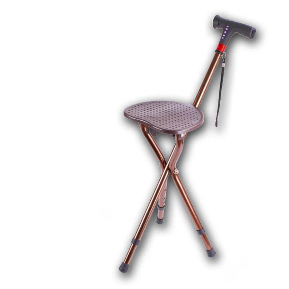 JIN Crutch Aluminum Alloy Walker Intelligent Lighting Alarm Medical Care Elderly Three-Legged Folding Chair