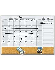 Quartet 6447415861 Slim Aluminum Magnetic Dry Erase Calendar Combo Board, Two Magnets Dry Erase Marker