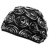 SSK Beautiful Metallic Turban-style Head Wrap (Silver Rosettes)