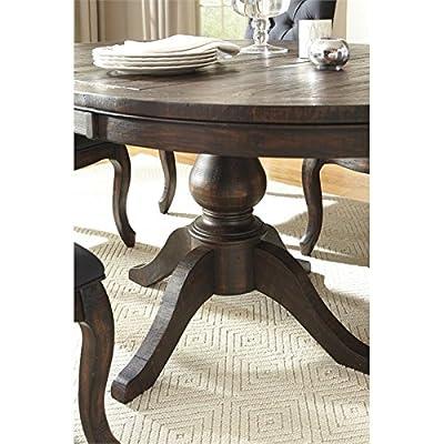 Ashley Furniture Signature Design - Trudell Round Dining Room Pedestal Table Base - Vintage Casual - Dark Brown