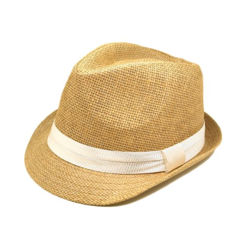 Classic Tan Fedora Straw Hat, White Band