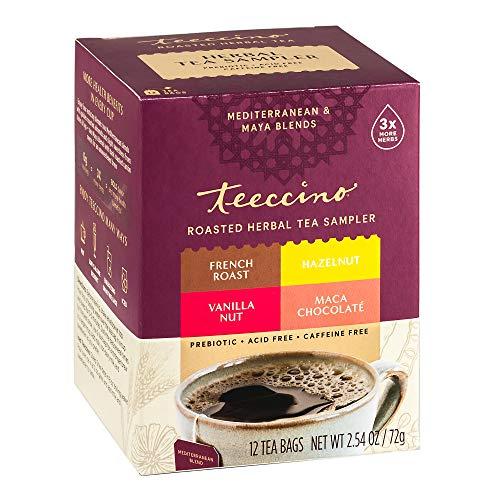 Teeccino Herbal Tea Sampler Assortment – Maca Chocolaté, French Roast, Hazelnut, Vanilla Nut – Rich & Roasted Herbal Tea…