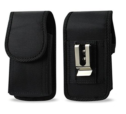 Agoz Carrying Case for Motorola Droid Turbo 2, Heavy Duty Rugged Canvas Vertical Holster Pouch Cover with Strong Metal Clip Belt Loops (to fit with OTTERBOX Defender, Commuter, LifeProof Cover on it) (Phone Pouch For Droid Turbo)
