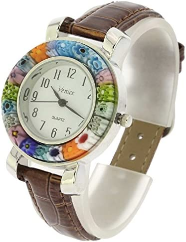 GlassOfVenice Serena Murano Millefiori Watch with Leather Band - Brown