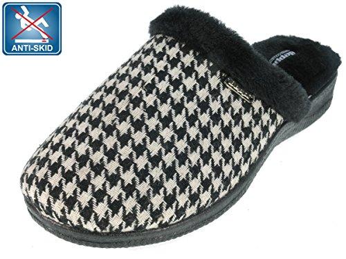 Beppi Mocassini da donna pantofole Nero/Bianco a quadretti