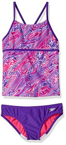 Speedo Girls Twirly Swirl Strappy Tankini Two Piece, Speedo Purple, Size 8 ()