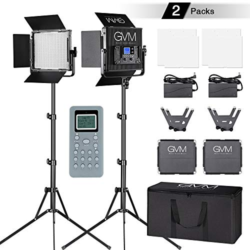 GVM LED Video Lighting Kit CRI97 Bi-Color 3200K-5600K Dimmable Video Lights for Studio Portrait Outdoor Interview PhotographyLighting,with Wireless Control, Carry Case.