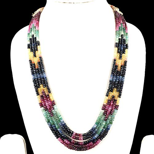 Selene Gems 5 Strands Natural Emerald Ruby Sapphire Necklace Faceted Beads