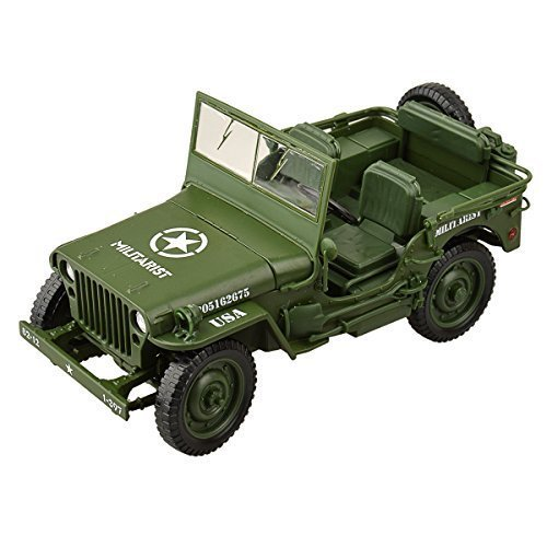 U-Mest® Willys WWII Tactical Jeep 1/18 camouflage Die Cast Military US Army Vehicle Model Car Army Green Us Army Willys Jeep