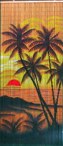 - Tropical Sunset Palm Trees Beaded Curtain 125 Strands (+hanging hardware)