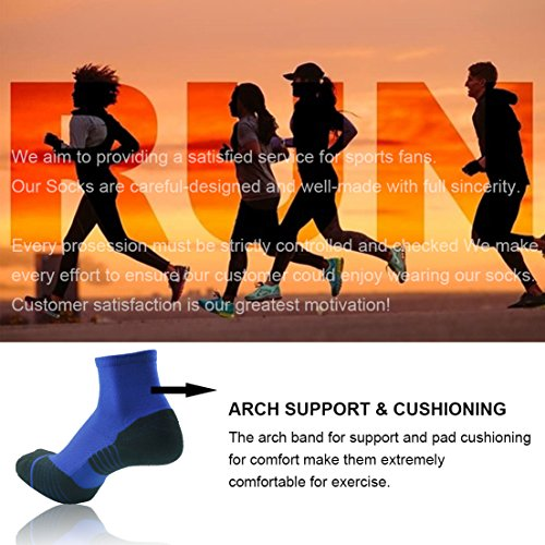Running Socks Ankle Support, HUSO Men Women High Performance Arch Compression Cushioned Quarter Socks 1,2,3,4,6 Pairs
