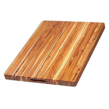 Teak Cutting Board - Rectangle Carving Board With Hand Grip (24 x 18 x 1.5 in.) - By Teakhaus