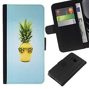 KLONGSHOP // Tirón de la caja Cartera de cuero con ranuras para tarjetas - Diseño Fruta fresca de la piña - HTC One M9 //