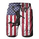 NAVYLIFE Men's Vintage Basketball USA Flag Quik-Dry Summer Beach Shorts Swim Trunks Medium