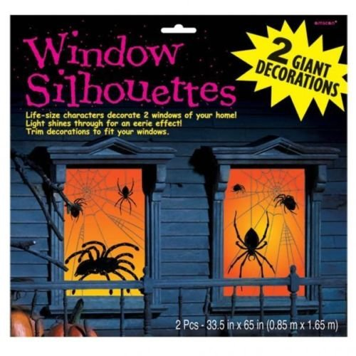 Halloween Large Spider Silhouettes Glowing Window Decorationsx