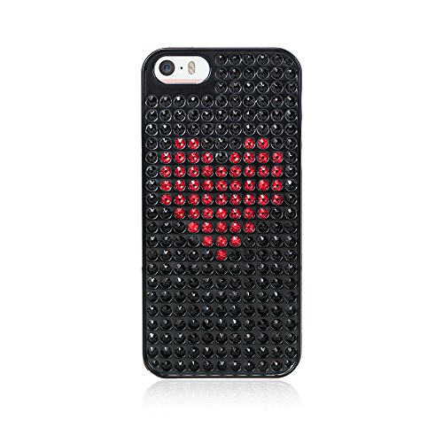 Bling-My-Thing - Heart - Black Metallic Case for Apple iPhone SE/5/5S - Retail Packaging - Jet and Red (Red Heart 5 Jet)