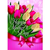 """Tulips for Mom"" – Happy Mother's Day – STANDARD Size, 28 Inch X 40 Inch, Decorative Double Sided Flag – Exclusively Made in the USA – Copyrights and Licensed by Custom Decor Inc."