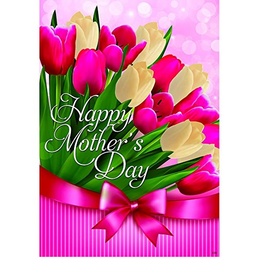 """""""Tulips for Mom"""" – Happy Mother's Day – STANDARD Size, 28 Inch X 40 Inch, Decorative Double Sided Flag – Exclusively Made in the USA – Copyrights and Licensed by Custom Decor Inc."""