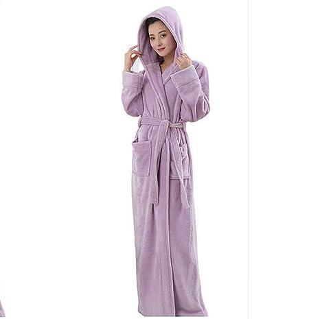 Yingsssq Invierno para Adultos Suave Albornoz con Capucha Mujer Camisón Ropa para el hogar Calzas largas